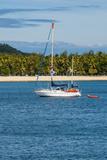 Little Sailboat in the Blue Lagoon  Yasawa  Fiji  South Pacific