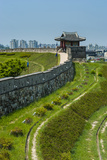 Huge Stone Walls around the UNESCO World Heritage Site the Fortress of Suwon  South Korea