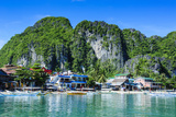 Bay of El Nido with Outrigger Boats  Bacuit Archipelago  Palawan  Philippines