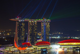 Singapore  Cityscape View and Lightshow of Downtown