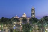 Mexico  Puebla  Zocolo and Puebla Cathedral at Twilight