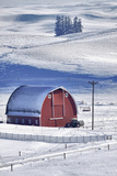 USA  Idaho  Old Red Barn in Fresh Snow