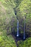 USA  Hawaii  Kauai  Aerial Image of Waterfalls of Kauai
