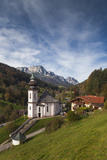 Germany  Bavaria  Maria Gern Village Church  Elevated View  Fall