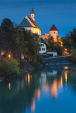 Germany  Bavaria  Fussen  Franciscan Abbey Church and Lech River  Evening