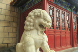 Lion Statue  Tea Shop Near Shopping Area  Southern Central Area of Beijing  China