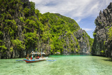Outrigger Boats in the Clear Water in the Bacuit Archipelago  Palawan  Philippines