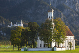 Germany  Bavaria  Hohenschwangau  Castle and St Coloman Church  Fall