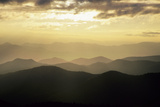 Sunset and Mountains Along Blue Ridge Parkway  North Carolina