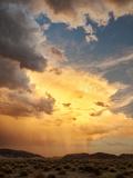 USA  California  Mojave National Preserve  Desert Rain Squall at Sunset