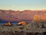 USA  California  Death Valley National Park  Moon Setting at Sunrise over Panamint Mountain Range