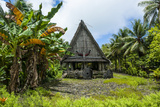 Traditional House with Stone Money in Front  Island of Yap  Micronesia