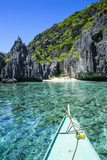 Little White Beach and Crystal Clear Water in the Bacuit Archipelago  Palawan  Philippines