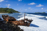 Shipwreck on the East Coast of Tutuila Island  American Samoa  South Pacific