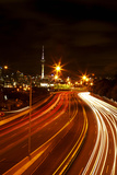 Northern Motorway and Skytower at Night  Auckland  North Island  New Zealand