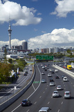 Northern Motorway and Skytower  Auckland  North Island  New Zealand