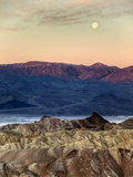 USA  California  Death Valley National Park Moonset at Sunrise from Zabriskie Point