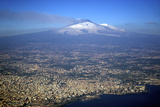 Italy  Sicily  Aerial View of Mount Etna City of Catania in the Foreground