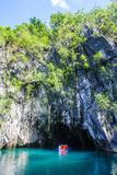 Tourist Entering a Little Rowboat  Puerto Princessa Underground River  Palawan  Philippines