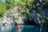Tourist Entering on a Little Rowing Boat  Puerto Princessa Underground River  Palawan  Philippines