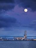 USA  California  San Diego  Uss Nimitz Moored under Full Moon in San Diego Bay