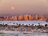 USA  California  San Diego  Full Moon Rises over Boats and City on San Diego Harbor