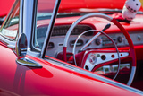 USA  Massachusetts  Cape Ann  Gloucester  Antique Car Show  Classic Car Interior