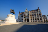 The Hungarian Parliament Building and Statue of Gyula Andressy  Budapest  Hungary  Europe