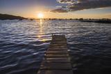 Lake Titicaca Pier at Sunset  Copacabana  Bolivia  South America