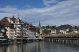 River Reuss and Kapellbrucke  Hofkircke Beyond  Lucerne  Switzerland  Europe