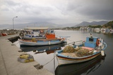 Moored Fishing Boats in Apothika Village Harbour  Greece