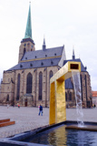 St Bartholomew's Cathedral and One of the Three Modern Gold Fountains  Czech Republic