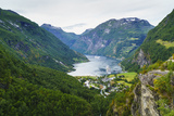 High View of Geiranger and Geirangerfjord  UNESCO World Heritage Site  Norway  Scandinavia  Europe