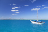 Yacht in Lagoon with Malolo Island  Mamanuca Islands  Fiji  South Pacific  Pacific