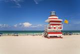 Art Deco Style Lifeguard Hut on South Beach  Ocean Drive  Miami Beach  Miami  Florida  USA