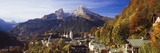Overview of Berchtesgaden and the Watzmann Mountain in Autumn  Berchtesgaden  Bavaria  Germany