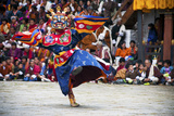 Traditional Dancers at the Paro Festival  Paro  Bhutan  Asia