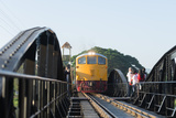 Train Crossing the Bridge over the River Kwai  Kanchanaburi  Thailand  Southeast Asia  Asia