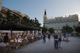 People Relaxing in In the Evening in Plaza De Santa Ana in Madrid  Spain  Europe