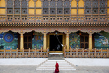 Monk Walking Through Punakha Dzong  Punakha District  Bhutan  Asia