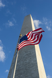 American Flag in Front of the Obelisk of the Washington Monument at the Mall  District of Columbia