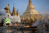 Lit Candles Placed by Devotees at Sunset at the Shwesagon Pagoda  Yangon  Myanmar (Burma)