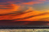 Lone Surfer and Sunset Clouds Off Playa Hermosa Surf Beach  Santa Teresa  Costa Rica