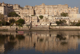 City Palace Museum in Udaipur Seen from Lake Pichola  Udaipur  Rajasthan  India  Asia