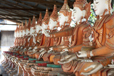 Line of Seated Buddhas at the Maha Bodhi Ta Htaung Monastery  Sagaing Division  Myanmar (Burma)