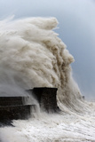 Huge Waves Crash Against the Harbour Wall at Porthcawl  Bridgend  Wales  United Kingdom  Europe