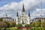 Old Horse Carts in Front of Jackson Square and the St Louis Cathedral  New Orleans  Louisiana