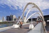 People Crossing Seafarers Bridge  Melbourne  Victoria  Australia  Pacific