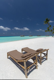 Lounge Chairs and Tropical Beach  Water Villas and Palm Trees  Maldives  Indian Ocean  Asia
