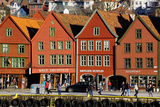 Traditional Wooden Hanseatic Merchants Buildings of the Bryggen  Bergen  Norway  Scandinavia